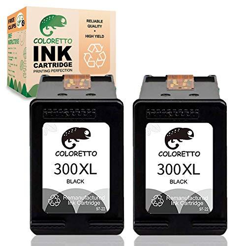 COLORETTO Cartucho de Tinta Remanufacturado para HP 300XL 300 XL (2 Negro) Compatible con PhotoSmart C4600 C4680 C4685 C4780 Deskjet D2560 D5560 F2420 F4280 F2492 F4580 Envy 100 110 114 Impresoras