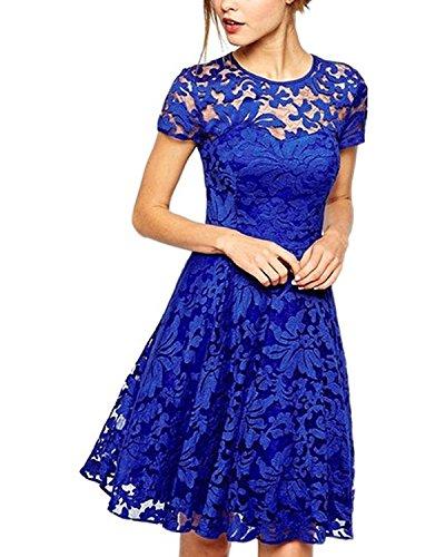 Yigoo Festliche Elegant Kleider Damen Festlich Hochzeit Spitzenkleider Vintage Abendkleid Cocktailkleid A-Linie Knielang Kurzarm Blau M