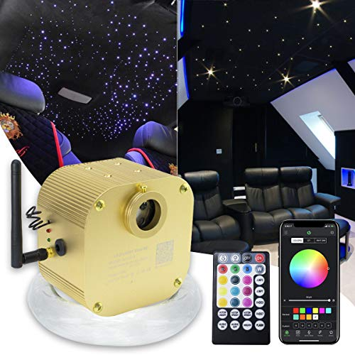 16W Bluetooth Twinkle Fiber Optic Star Ceiling Lights Lamp Kit, LED RGBW Engine Driver APP/Remote Control (550pcs0.03in13.1ft)