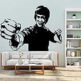 Lindo Bruce Lee Kung Fu impermeable etiqueta de la habitación de jardín de infantes arte etiqueta calcomanía niño dormitorio etiqueta A2 43X58CM
