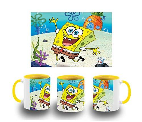 MERCHANDMANIA Taza Amarilla Bob Esponja Dibujo PIÑA MAR Color mug