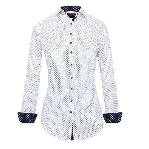 HEVENTON Bluse Damen Langarm in Weiß Gepunktet Hemdbluse - Größe 34 bis 42 - elegant und hochwertig 1196 Größe 38