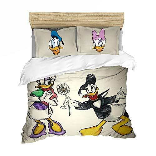 QIAOJIN Juego de ropa de cama para niños, impresión 3D de Donald Duck Anime, funda nórdica y funda de almohada, hipoalergénico, suave (b,260 x 220)