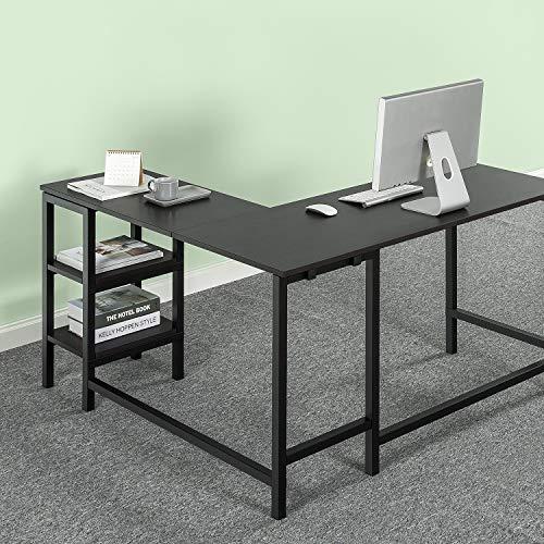 ZINUS Luke 53 Inch Black Metal Corner Desk with Storage Shelves / L-Shaped Computer Desk / Office Desk / Easy, Bolt Free Assembly
