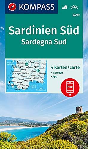 Sardinien Süd, Sardegna Sud: 4 Wanderkarten 1:50000 im Set inklusive Karte zur offline Verwendung in der KOMPASS-App. Fahrradfahren. (KOMPASS-Wanderkarten, Band 2499)