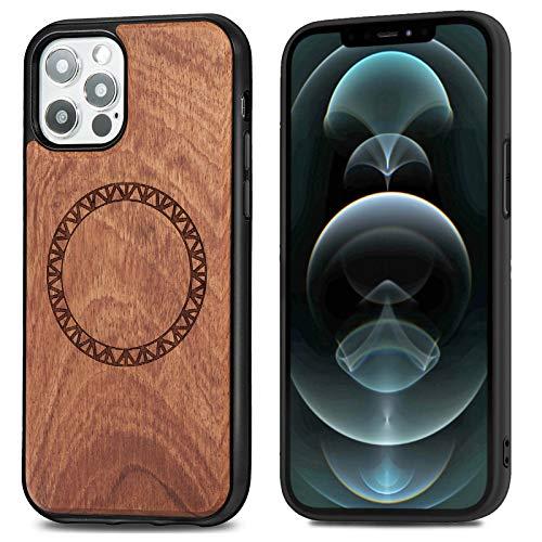 Funda para iPhone 12/iPhone 12 Pro Apple Case,Funda iPhone 12/iPhone 12 Pro con Madera Maciza Wood Grain Cuero Piel Carcasa Anillo Trasero Magnético Design Leather Hybrid (A, iPhone 12 Pro)