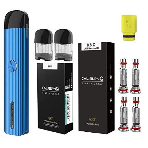 UWELL Caliburn G カリバーンジー ヴェポライザー + 交換用コイル0.8Ω(4pcs)+ 交換用POD(2pcs) + ドリップチップ(1個) オリジナル4点セット 電子タバコ スターターキット 正規品 (Blue)