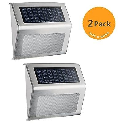 Solar Light,Elelink Outdoor Stainless Steel LED Solar Step Light; Illuminates Stairs /Path /Landscape /Garden /Floor /Wall /Patio Lamp, Waterproof