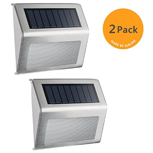 Solar Step Lights,Solar Deck Lights,Super Bright LED Walkway Light Stainless Steel Waterproof Outdoor Security Lamps for Stairs Patio Garden Pathway(2 Pack)
