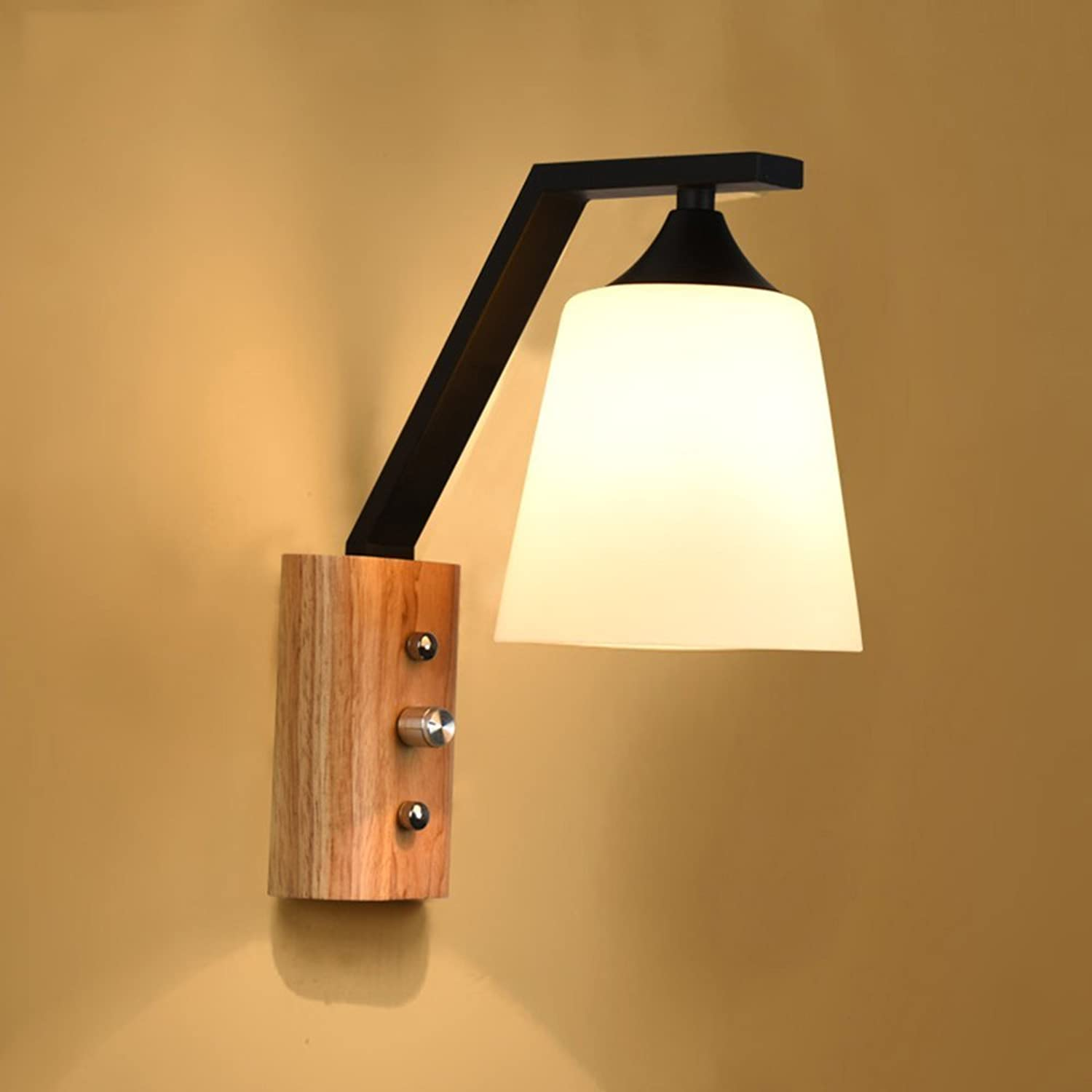 GRY Nordic Modern Einfache Wohnzimmer Holz Wandleuchte, Single Headed Led Wandleuchte