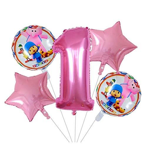 XINGYAO Globo 5pcs / Set 18inch Rosado de la Estrella de Dibujos Animados Pocoyó Hoja hincha Set 30 Pulgadas Ducha Número Aire Globos de bebé Niños Decoración Fiesta de cumpleaños decoración
