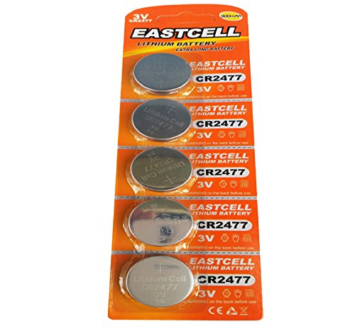 EASTCELL 5 x CR2477 3V Lithium Knopfzelle 900 mAh (1 Blistercard a 5 Batterien) EINWEG Markenware