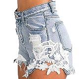 Yying Donna Pantaloncini Corti di Jeans con Nappe da Donna Jeans con Cuciture di Pizzo Sexy Jeans...