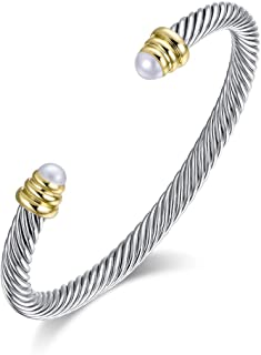Ofashion Brass Alloy Cable Wire Pearl Cuff Bracelet