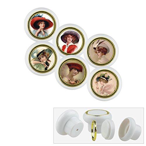 Lot de 6 petits boutons de meuble universels en plastique pour armoire, tiroir, commode, porte, cuisine, salle de bain, maison, chambre d'enfant