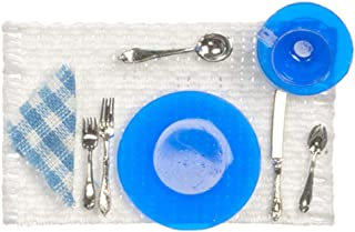 ドールハウスChrysnbon青い場所テーブルマットダイニングルーム用アクセサリーの設定
