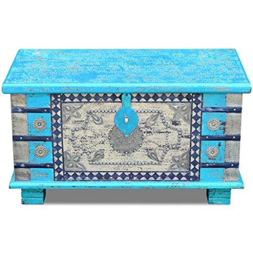 Festnight Abschließbar Aufbewahrungstruhe aus Mangoholz Dekorative Truhe Aufbewahrungsbox als Kaffeetisch Retro-Stil 80x40x45cm Blau - 3