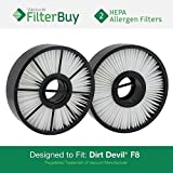 2 - FilterBuy Dirt Devil F8 (F-8) HEPA Replacement Filters, Part # 3UD0280001. Designed by FilterBuy to fit Dirt Devil Ultra Vision Turbo & Power Streak Vacuum Models