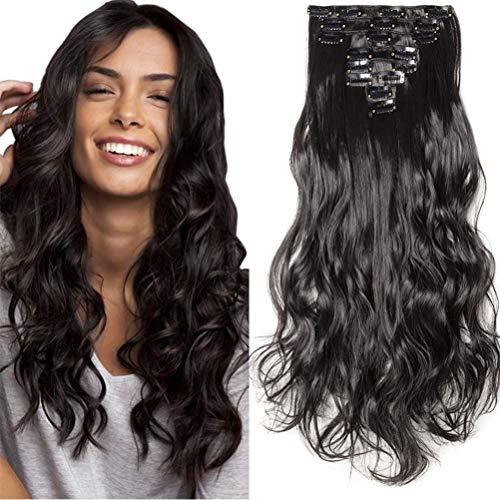 8 Pcs 18 Clips Complète Dans Les Extensions De Cheveux Longs Bouclés Synthétique Épais Extension De Cheveux Ondulés Postiche Full Head 60cm Noir naturel