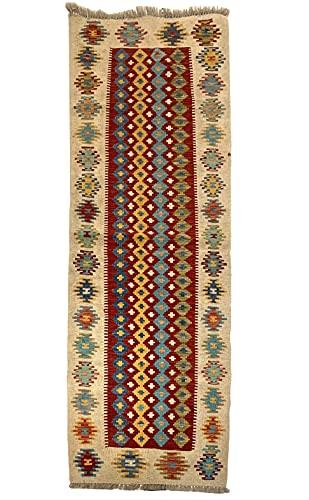 Tapis kilim oriental afghan fait à la main en laine aux couleurs naturelles afghan, turc, nomad, persan traditionnel 72 x 202 cm vintage chemin de couloir escalier réversible
