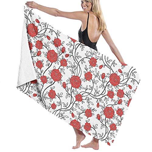 Serviette De Bain Rouge Petites Fleurs Plage Spa Douche Bain Wrap Lumière Douce Confortable 80X130 Cm