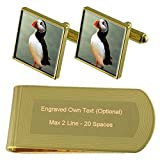 Select Gifts Aves frailecillos de Tono Oro Gemelos Money Clip Grabado Set de Regalo