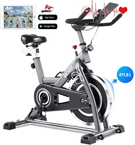 ANCHEER Bicicleta de Spinning Bicicleta Indoor de Volante de Inercia de 22kg Bicicletas deCiclo con Conecto con App Resistencia Ajustable y Monitor LCD para Ejercicio en el Hogar (Plateado)