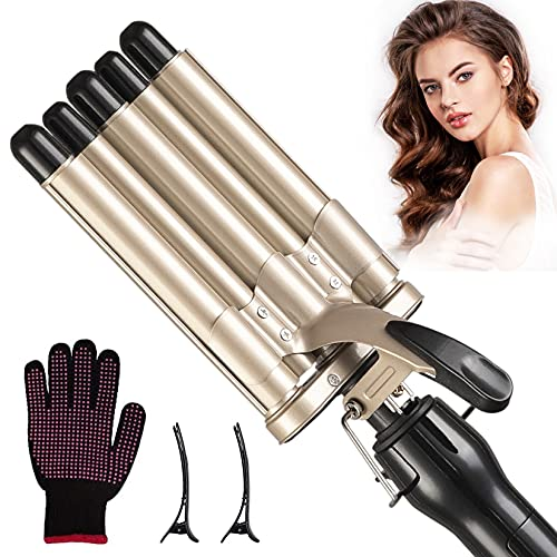 Hair Crimper for Women,Lidow Ceramic Tourmaline 5 Barrel Curling Iron Wand,LCD Temperature Display Dual Voltage Fast Heating Hair Curling Wand,Curling Iron for Long Hair,Wave roll Curling/Gold(LD019)