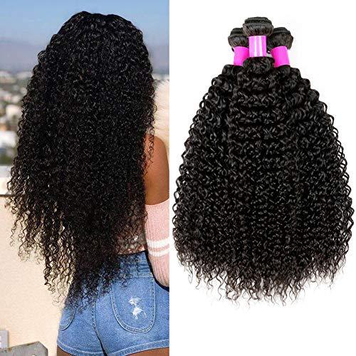 UR Beautiful 8A Human Hair Curly 100% Brasilianisches Haar Remy Menschliches Haar Virgin Human Hair Bundles Curly Brazilian Hair Kinky Curly Hair 3 Bundles Natural Black Color 8 10 12 Zoll Total 300g