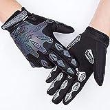 Qepae Reflective Cycling Gloves Skeleton Gloves Full Finger Gloves Men Shockproof Outdoor Sports Gloves Black Anti Slip Adjustable Breathable (Black, L-3.14in to 3.54in)