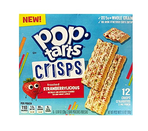 Pop Tarts Thin Crisps Frosted Fruit Flavor 1 Pack, 12 Crisps (Strawberry)