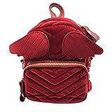 Bat Wing Backpack College Wind Bagpacks Angel Wing Backpack Little Devil Bag Travel Shoulder Bag Corduroy Cartoon Backpack (red)