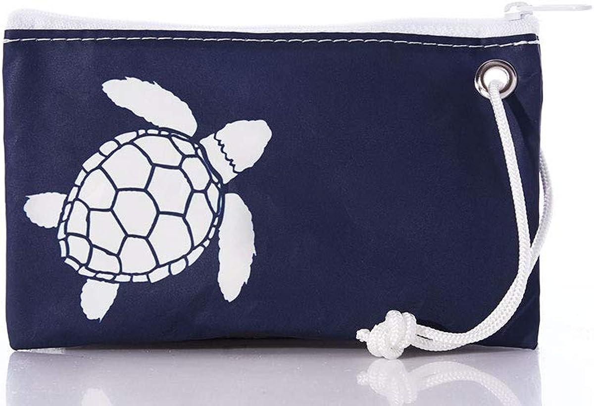 Sea Bags Recycled Sail Cloth White-on-Navy Sea Turtle Wristlet