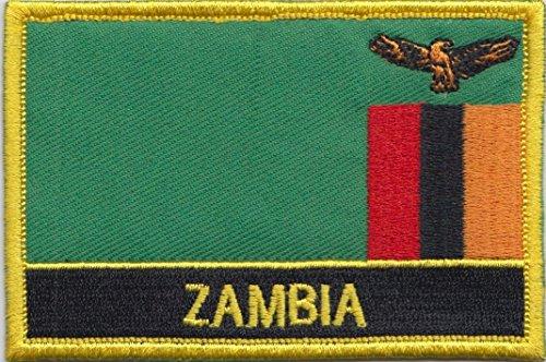 Aufnäher mit der Flagge von Sambia, rechteckig, zum Aufnähen oder Aufbügeln, exklusives Design von 1000 Flags