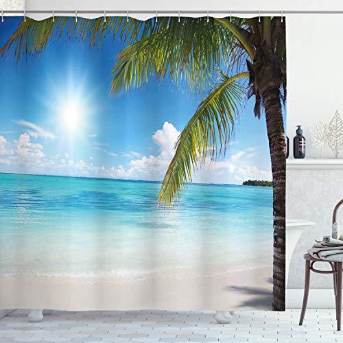 ABAKUHAUS Strand Duschvorhang, Tropische Küste Palmen, mit 12 Ringe Set Wasserdicht Stielvoll Modern Farbfest & Schimmel Resistent, 175x240 cm, Farngrün Himmelblau Perle