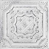 From Plain To Beautiful In Hours DCT04obw-24x24-25 Elizabethan Shield PVC 2' x 2'Glue-up or Lay-in Ceiling Tile (Case / 100 sq.ft), Pack of 25, Old Black White, 25
