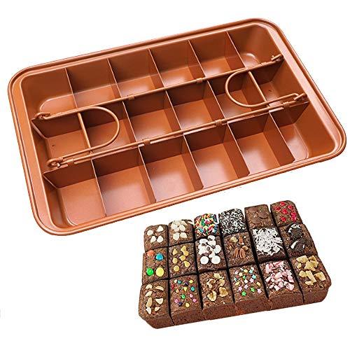 nuluxi Moldes para Brownies Brownie Pan con Divisore Metal Antiadherente Bandeja para Brownie Molde de Horno Desmontable Acero Al Carbono Molde para Pasteles Horneado Profesional Accesorios de Cocina