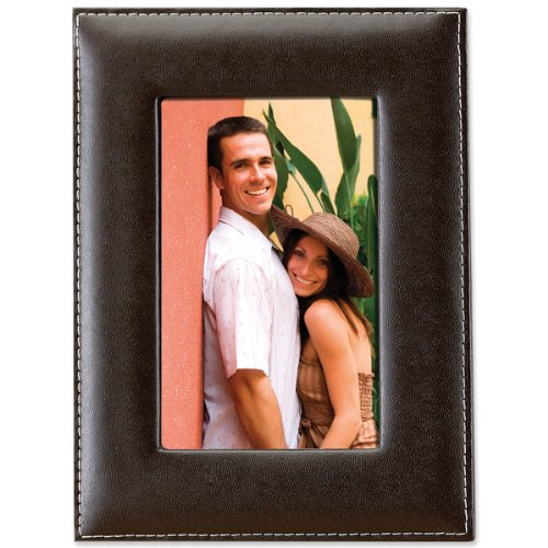 Lawrence Frames Dark Brown Leather 5 by 7 Picture Frame