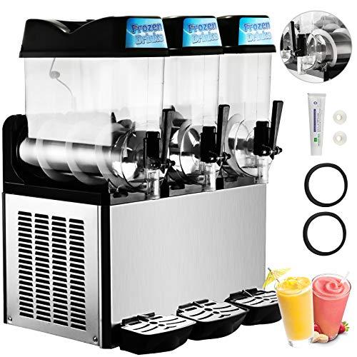Happybuy Slushy Machine 110V Margarita Maker Frozen Drink Machine Commercial Smoothie Maker Slushy Making Machine Suitable for Commercial Use (12L x 3 Tank)