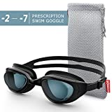 ZIONOR RX Prescription Swim Goggles, G7 Optical Corrective Swimming Goggles Leakproof Anti-Fog UV Protection Nearsighted Shortsighted Myopia for Men and Women (Smoke Lens -4.0)