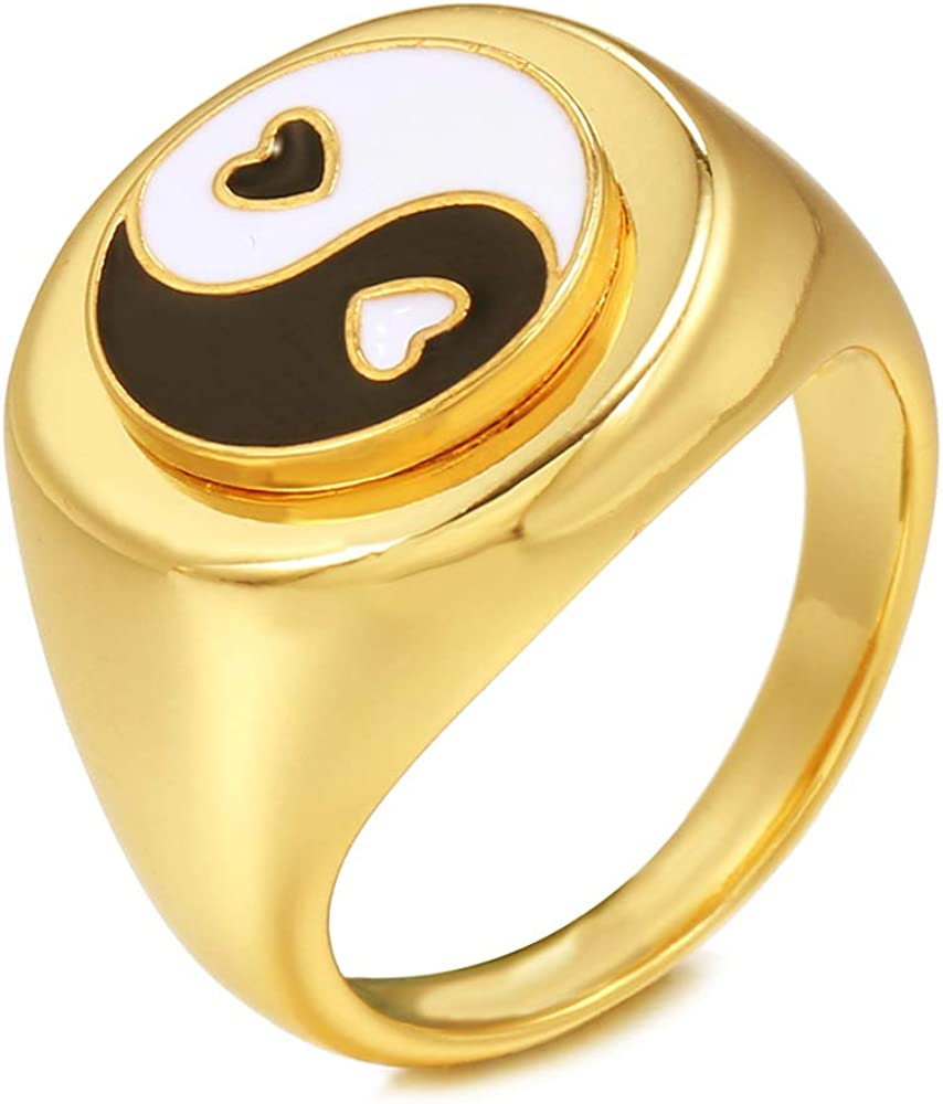 Ba Gua Yin Yang Tai Chi Balance Signet Chunky Wide Band Rings for Women Girls Statement Middle Finger Tail Cute Stackable Thick Fashion Gold Ring Dainty BFF Gifts Birthday Jewelry