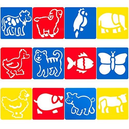 ANEWISH Zeichenschablone 12 Stücke Tiere Schablone Kunstoff Malschablone Set für DIY Zeichnung