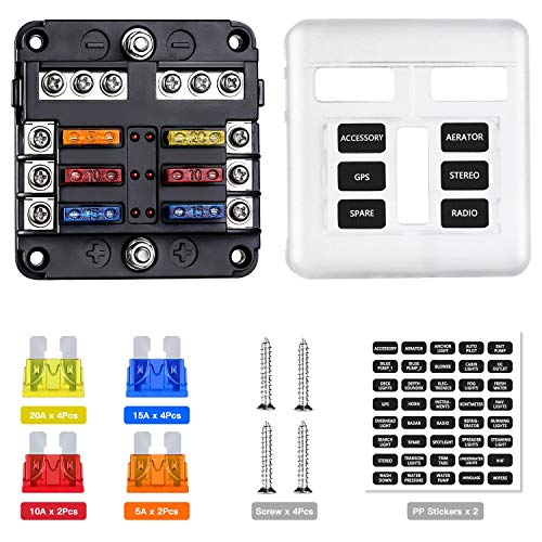 Extractme 12V 6-Way Blade Fuse Block with Negative Bus, 6 Circuit Fuse Box Holder with LED Indicator Waterproof Protection Cover and Label Sticker for Automotive Car Truck Trailer Boat and Yacht