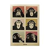 Arte della parete, Poster vintage Carta kraft Pittura decorativa Stile Gorilla Retro Craft...