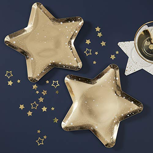 Ginger Ray Gold Star Shaped Paper Party Plates 8 Pack Christmas New Year