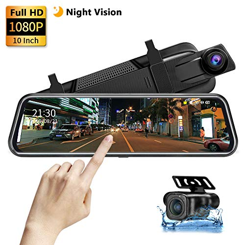 【Upgrade】 Backup Camera 10' Mirror Dash Cam 1080P Night Vision Front and Rear Full Touch Screen with Loop Recording Streaming Media Car Rearview Recorder 170° Wide Angle