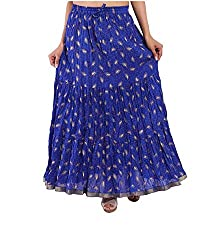 jaipuri skirts Print Women Long Cotton Skirts Blue Free Size 100% Cotton