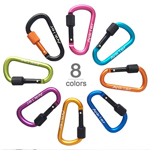 Locking Carabiner, 8-colors Premium Aluminum Alloy D-ring Carabiner Clips for Outdoor, Camping, Hiking, Traveling, Fishing, Backpack, (8 pcs)