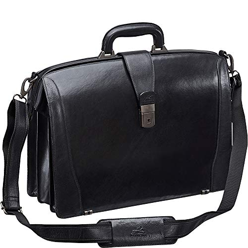Mancini Leather Goods Vanizia Laptop Litigator Briefcase with RFID (Black)
