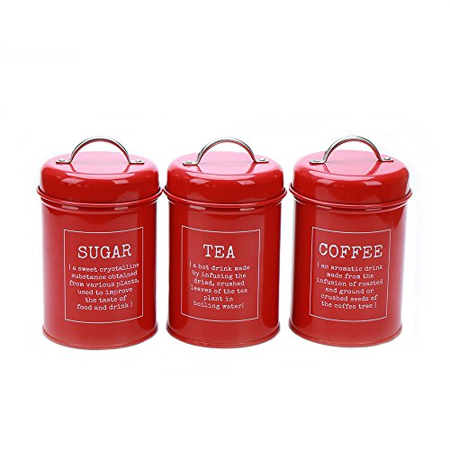 X021 Set of 3 Metal Food Storage Tin Canister/Jar/Container with Lid (red)